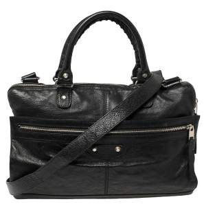 Balenciaga Black Crinkled Leather Briefcase Bag