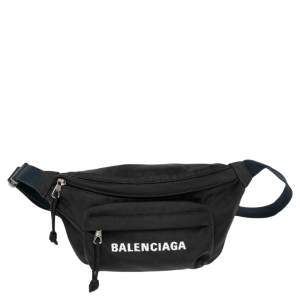 Balenciaga Black Logo Nylon Explorer Belt Bag