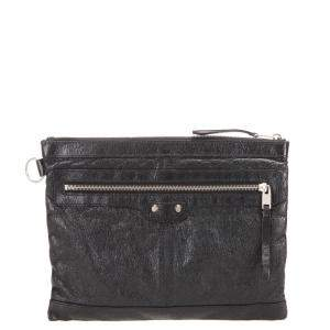 Balenciaga Black Lambskin Leather Classic Clip M Bag Clutch Bag