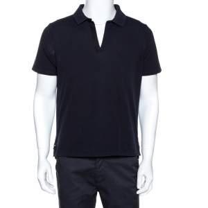 Balenciaga Navy Blue Cotton Pique Polo T Shirt L