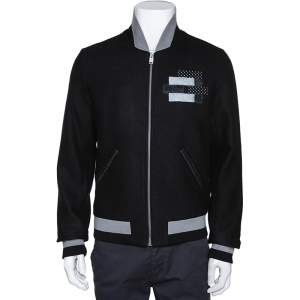 Balenciaga Black Stretch Wool Applique Detail Bomber Jacket L