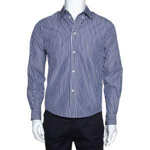Balenciaga Navy Blue Logo Print Striped Cotton Shrunken Shirt M