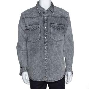 Balenciaga Grey Acid Washed Denim Distressed Cuff Detail Shirt L