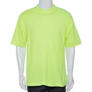 Balenciaga Neon Yellow Logo Embroidered Cotton T-Shirt M