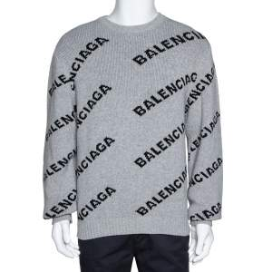 Balenciaga Grey Wool Blend Allover Logo Crew Neck Sweater M