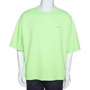 Balenciaga Neon Green Cotton Archetypes Print Crew Neck T-Shirt L