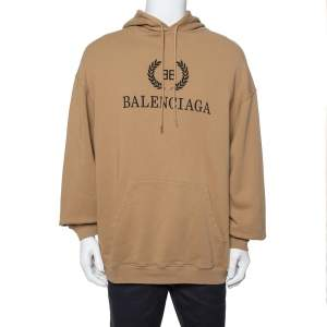 Balenciaga Beige BB Logo Print Cotton Oversized Hoodie M