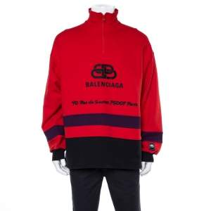Balenciaga Red Cotton Logo Embroidered Sweatshirt M