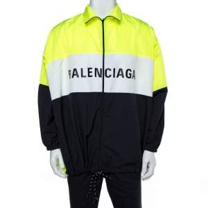 Balenciaga Neon Yellow Logo Print Track Jacket M