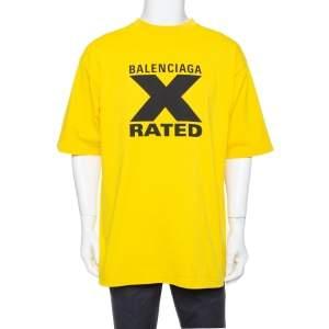 Balenciaga X Rated Yellow Cotton Printed Jersey T-shirt S