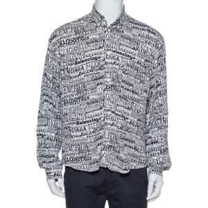 Balenciaga Monochrome Logo Printed Crepe Button Front Shirt S