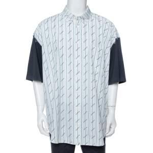 قميص بالنسياغا قطن أبيض بالشعار أكمام قصيرة واسع مقاس كبير جدًا جدًا - إكس إكس لارج