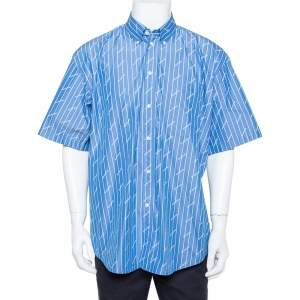 Balenciaga Blue Striped Cotton All Over Logo Print Button Front Shirt L