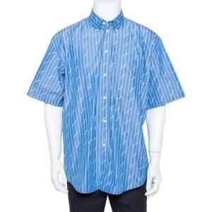 قميص بالنسياغا قطن أزرق مخطط أول أوفر بالشعار أزرار أمامية مقاس كبير - لارج