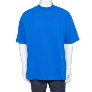 Balenciaga Blue Cotton Logo Printed Crewneck T-Shirt M