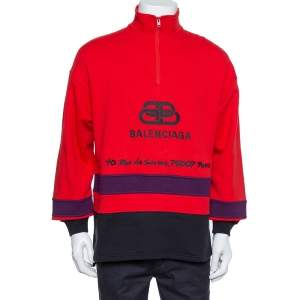 Balenciaga Red Cotton BB Address Embroidered Ski Sweater XS