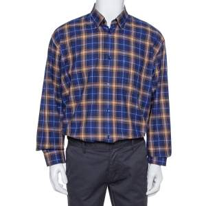 Balenciaga Blue Logo Print Checked Cotton Flannel Oversized Shirt M