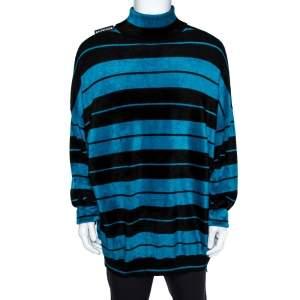 جامبر بالنسياغا طويل كبير كتف ساقط تريكو قطيفة مخطط أسود وأزرق مقاس صغير