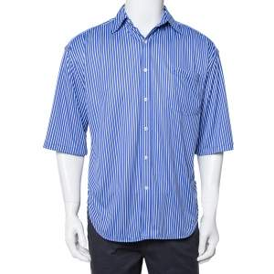 Balenciaga Blue Striped Knit Hi-Low Hem Oversized Shirt XS