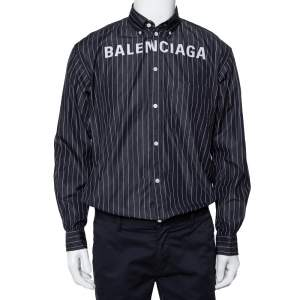 Balenciaga Black Striped Cotton Logo Embroidered Button Front Shirt S