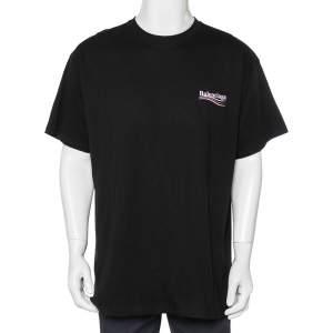 Balenciaga Black Cotton Logo Printed Crewneck Oversized T-Shirt L