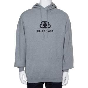 Balenciaga Grey Cotton Logo Printed Oversized Hooded Sweatshirt S