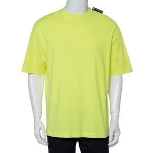 Balenciaga Neon Yellow Cotton Logo Patch Detail Crewneck T-Shirt L