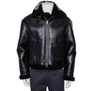 Balenciaga Black Leather Faux Fur Lined Collared Jacket S