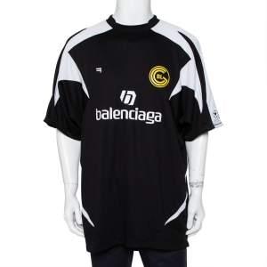 Balenciaga Black Logo Printed Jersey Paneled Soccer T-Shirt M