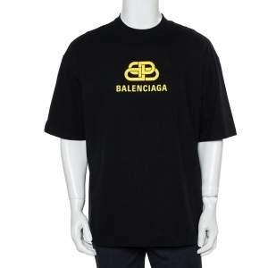 Balenciaga Black Cotton Crewneck Logo Print T-Shirt L