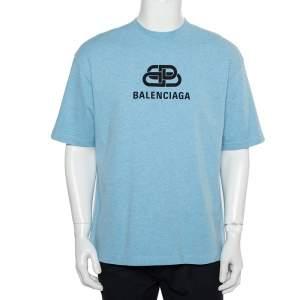 تي شيرت بالنسياغا طباعة شعار رقبة مستديرة قطن أزرق مقاس متوسط
