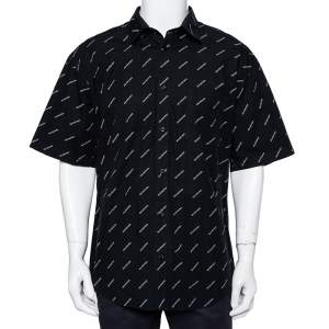 Balenciaga Black Cotton All Over Logo Printed Oversized Shirt L