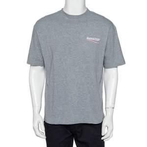 Balenciaga Grey Cotton Campaign Logo Crew Neck T Shirt S