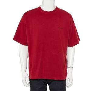 Balenciaga Burgundy Minimalist Logo Printed Crewneck T-Shirt XL