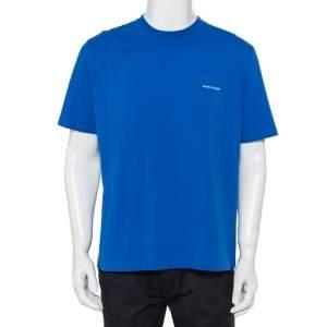 Balenciaga Blue Logo Printed Cotton Crewneck T-Shirt XXL