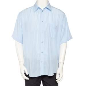 قميص بالنسياغا ليوسيل أزرق فاتح بأكمام قصيرة نمط واسع مقاس متوسط - ميديوم