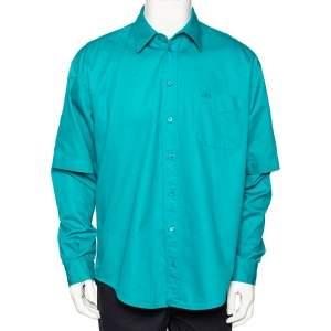 Balenciaga Green Cotton Logo Embroidered Button Front Oversized Shirt XXS
