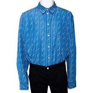 Balenciaga Blue Logo Striped Cotton Oversized Shirt XL