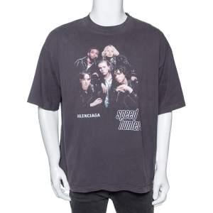 Balenciaga Washed Grey Cotton Speed Hunters Printed T-Shirt L