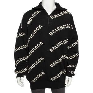 Balenciaga Black Wool Logo Embroidered Band Collar Detail Sweater L
