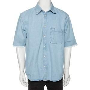 Balenciaga Blue Denim Frayed Detail Button Front Shirt S