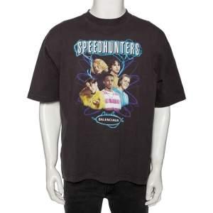 Balenciaga Grey Cotton Speed Hunters Printed Crewneck T-Shirt M