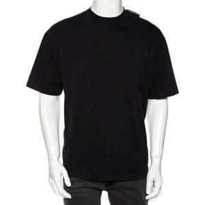 Balenciaga Black Cotton Logo Detailed Crew Neck T-Shirt S