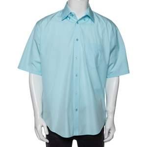 Balenciaga Light Blue Cotton Logo Print Detailed Short Sleeve Oversized Shirt S