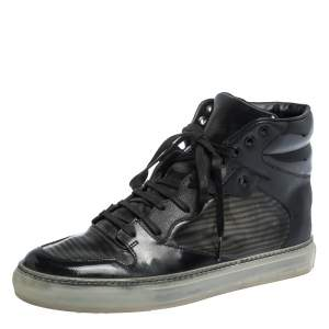 Balenciaga Black Leather and PVC Patchwork High Top Sneakers Size 41