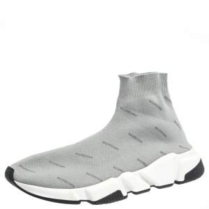 Balenciaga Grey Logo Print Knit Speed Trainer Sneakers Size 41