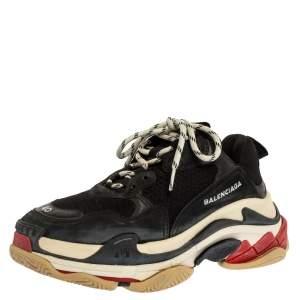 حذاء رياضي بالنسياغا تريبل S جلد وشبك أسود مقاس 40