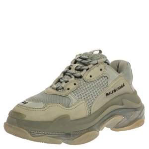 Balenciaga Grey/Green Leather And Mesh Triple S Trainer Sneakers Size 40