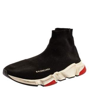 Balenciaga Black Knit Speed High Top Sock Sneakers Size 43