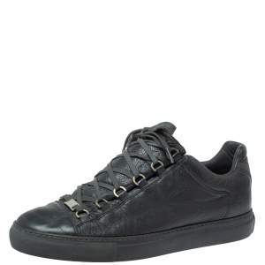 Balenciaga Grey Leather Arena Low Top Sneakers Size 43
